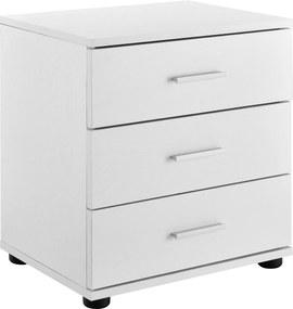 [en.casa]® Noptiera cu 3 sertare - comoda / dulap pentru birou - alb