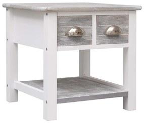 284066 vidaXL Masă laterală, gri, 40 x 40 x 40 cm, lemn de paulownia