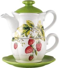 Ceainic din ceramică cu ceașcă FLORINA GARDEN Malina