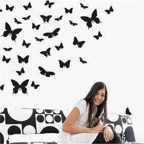 Autocolant de perete Wallvinil Butterfly Paradise, negru
