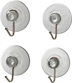 Set 4 cârlige de perete cu ventuză Wenko Suction Hooks, transparente