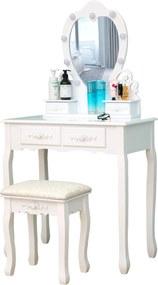 Set Ilona, Masă de toaletă cu oglindă iluminată LED, control touch, 4 sertare, scaun, Alb