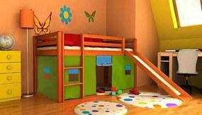 Pat etajat pentru copii Ourbaby Modo cu diapozitiv din lemn de anin culoare Perdeluțe - loc de joaca