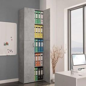 800301 vidaXL Dulap de birou, gri beton, 60x32x190 cm, PAL