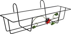 Suport jardiniera fier negru Buburuza 50 cm x 24 cm x 17h