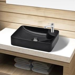 141935 vidaXL Chiuvetă de baie din ceramică cu gaură pentru robinet, negru