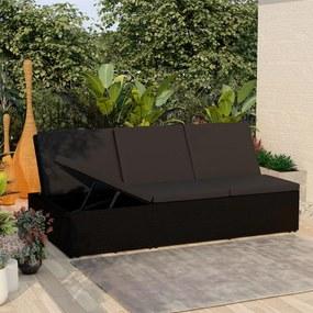 46245 vidaXL Șezlong tip pat rabatabil cu pernă, negru, poliratan