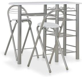 284399 vidaXL Set mobilier de bar, cu rafturi, 3 piese, alb, lemn și oțel