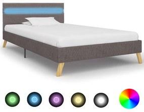 284846 vidaXL Cadru pat cu LED-uri, gri deschis, 90x200 cm, material textil