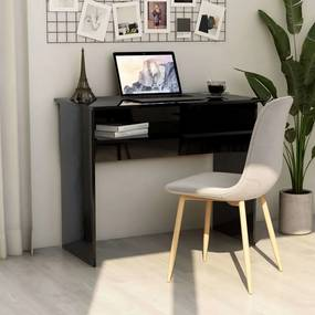 801177 vidaXL Birou, negru extralucios, 90 x 50 x 74 cm, PAL