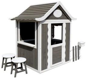 Căsuţă pentru grădină din lemn cu scaune şi cutie poştală, gri / alb, PEOR