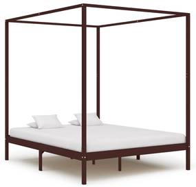 283272 vidaXL Cadru pat cu baldachin, maro închis, 160x200cm, lemn masiv pin