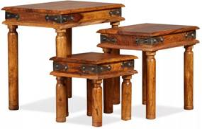 Set mese suprapuse, 3 piese, lemn masiv de sheesham, maro