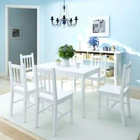 242959 vidaXL Set masă și scaune din lemn de pin, 7 piese, alb