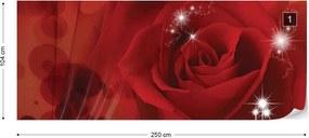 Fototapet GLIX - Red Rose Sparkles Flowers + adeziv GRATUIT Tapet nețesute - 254x184 cm