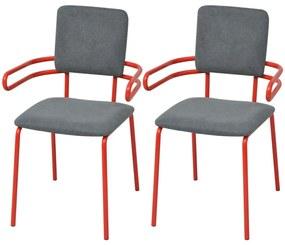 242294 vidaXL Scaune de bucătărie, 2 buc., roșu și gri, material textil