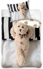 Lenjerie de pat Ursuleț de pluș, , din bumbac, 140 x 200 cm, 70 x 80 cm