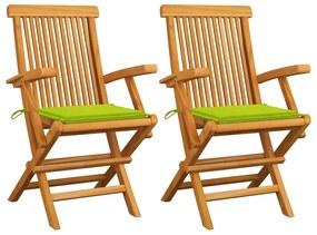 3062498 vidaXL Scaune de grădină cu perne, 2 buc., verde, lemn masiv de tec
