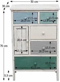 Comodă, albă/sertare colorate, MONET 1