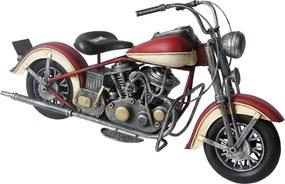 Macheta motocicleta retro metal rosie 37 cm x 19 cm x 13 cm