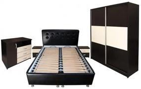 Dormitor Milano cu Pat Tapitat Wenge 140x200 cm