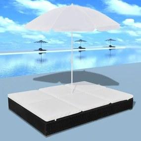 Șezlong cu umbrelă, poliratan, negru