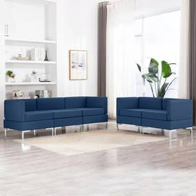 3052793 vidaXL Set de canapea, 5 piese, albastru, material textil