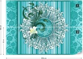 Fototapet GLIX - Vintage Floral Pattern Turquoise + adeziv GRATUIT Tapet nețesute - 254x184 cm