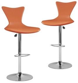 323213 vidaXL Scaune de bar, 2 buc., portocaliu, piele ecologică