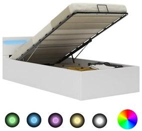 285546 vidaXL Cadru pat hidraulic cu ladă LED alb 90x200 cm piele ecologică