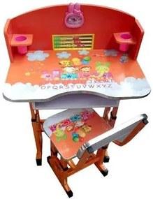 Birou cu scaunel pentru copii, inaltime reglabila  Portocaliu  KT0539.1