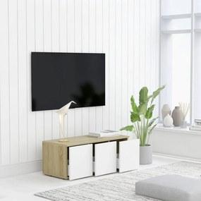 801864 vidaXL Comodă TV, alb și stejar Sonoma, 80 x 34 x 30 cm, PAL