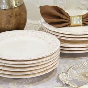 Set cu 18 farfurii Venezia Ivory din ceramica