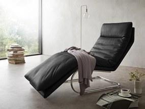 Sezlong W. Schillig Daily Dreams, 75 cm, negru, din piele naturala, cu balansare libera