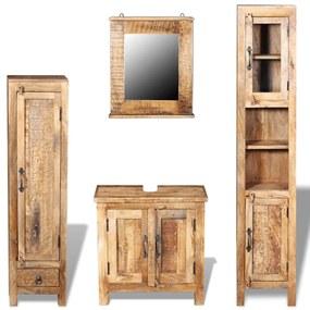 243463 vidaXL Dulap chiuvetă oglindă 2 dulapuri laterale lemn masiv de mango