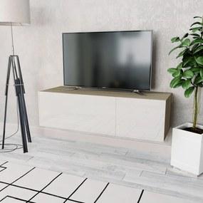 244871 vidaXL Comodă TV, PAL 120 x 40 x 34 cm Alb foarte lucios și stejar
