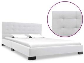 280634 vidaXL Cadru de pat, alb, 140 x 200 cm, piele artificială