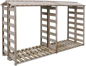 Șopron depozitare lemne foc, lemn pin impregnat, 300x100x176 cm