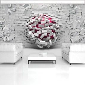 Fototapet - 3D minge cu perete alb din cărămizi (254x184 cm), în 8 de alte dimensiuni noi