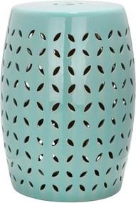 Măsuță din ceramică adecvată pentru exterior Safavieh Lattice Petal, ø 33 cm, albastru turcoaz