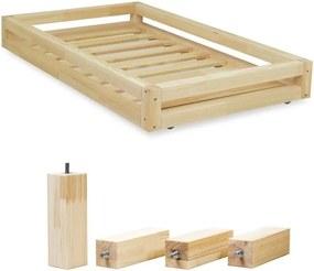 Set sertar natural pentru pat și 4 picioare înălțătoare, pentru patul Benlemi 90 x 180 cm