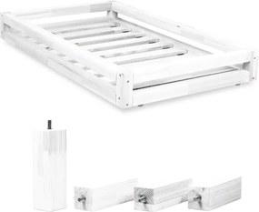 Set sertare pentru pat și 4 picioare lungi Benlemi, pentru pat de 80 x 160 cm, alb