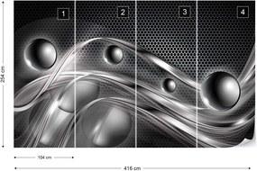 Fototapet GLIX - Silver Abstract  + adeziv GRATUIT Tapet nețesute - 254x184 cm