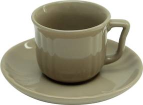 Ceasca si farfurie din ceramica gri