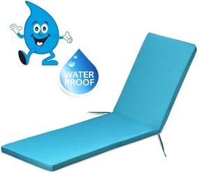 Saltea impermeabila pentru sezlong, 185x55x4 cm, culoare albastru