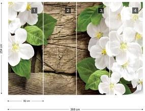 Fototapet GLIX - Flowers On Rustic Wood  + adeziv GRATUIT Papírová tapeta  - 254x184 cm
