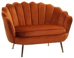 Canapea Shell cu picioare metalice si tapiterie portocalie 128x74x83 cm
