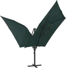 Umbrelă de soare dublă cu 2 cupole, 300x300 cm, verde