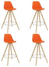 3068533 vidaXL Scaune de bar, 4 buc., PP portocaliu, lemn masiv de fag