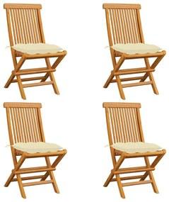 3062585 vidaXL Scaune de grădină cu perne alb crem, 4 buc., lemn masiv de tec